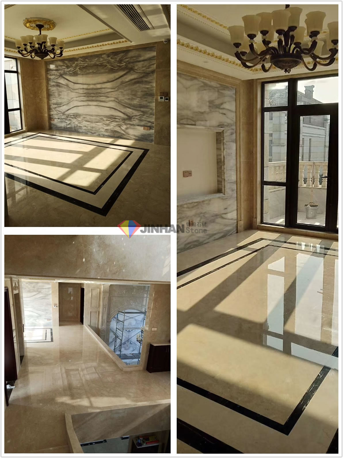 Beige marble adorns Jinhan customers